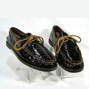 Sperry Brown Leather Croc Boat/Deck Shoes Sz: 7.5M